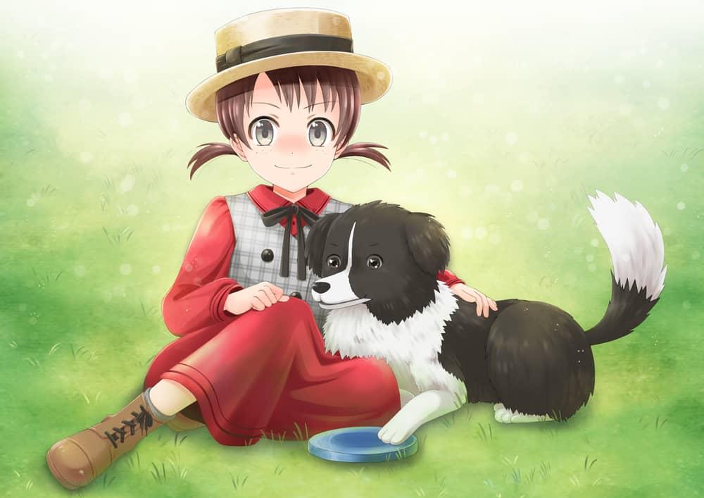 anime girl and dog