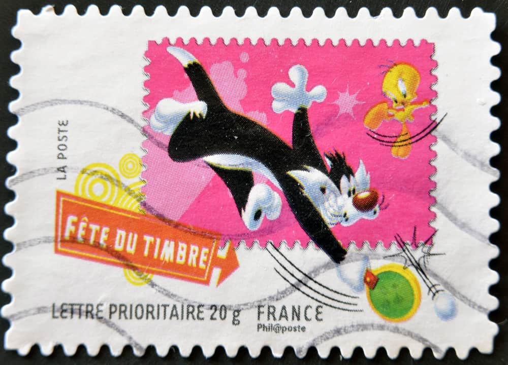 stamp with sylvester the cat and tweety bird