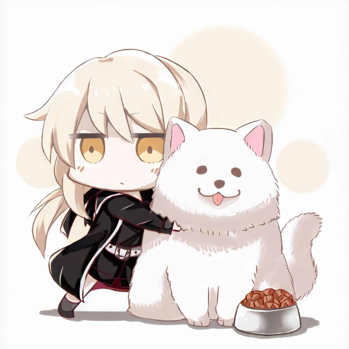 A blonde chibi anime girl hugging a white dog