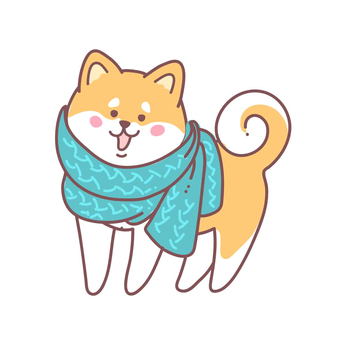 A drawing of a happy shiba inu wearing a green scarf
