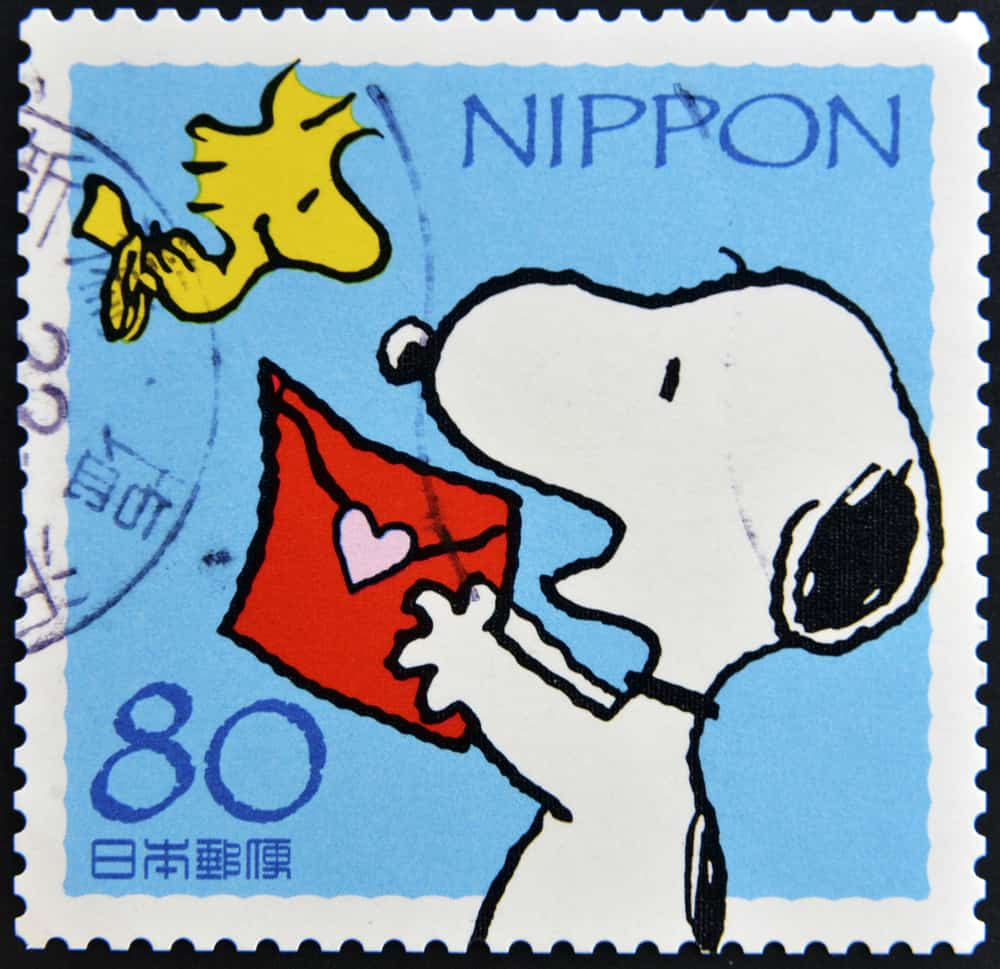 stamp with snoopy and woodstock