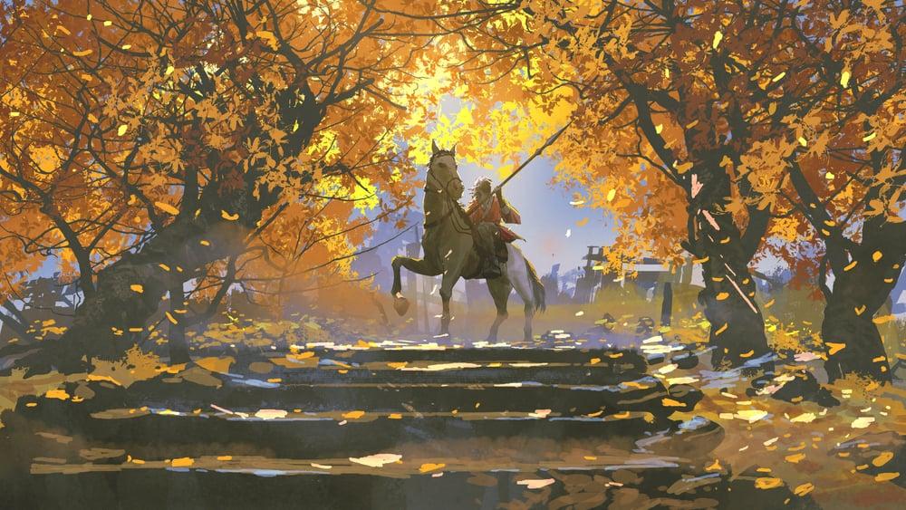 samurai riding horse comic style